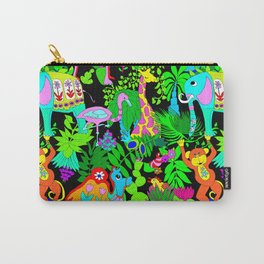 60's Groovy Zoo in Black Carry-All Pouch