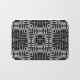 SMUT - charcoal grey and black abstract repeating square pattern Bath Mat