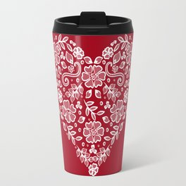 Red Heart Lace Flowers Travel Mug