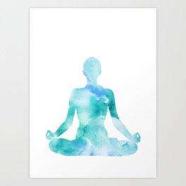 Yoga | Lotus Pose | Padmasana | Sacred Lotus | Asana | Meditation | Blue Art Print