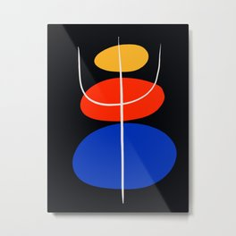 Abstract black minimal art with red yellow and blue Metal Print