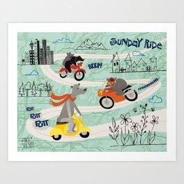Sunday Ride Art Print