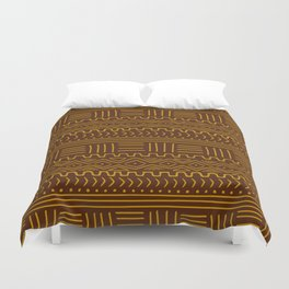 Mud Cloth on Brown Duvet Cover