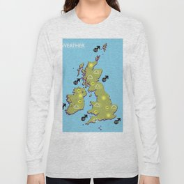 British vintage style television weather map Long Sleeve T-shirt