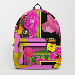 DECORATIVE ORNATE YELLOW BUTTERFLIES & PINK PEONY FLORAL VIGNETTE Backpack