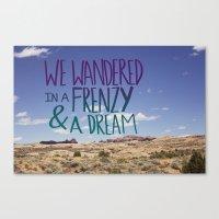 kerouac Canvas Prints featuring Kerouac: Frenzy + Dream by Leah Flores