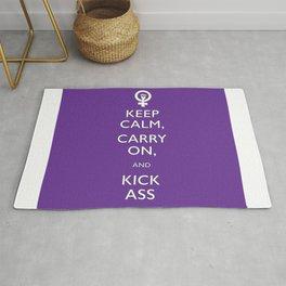 Feminist Keep Calm and Carry On Rug
