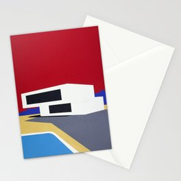 Modern House With Pool Stationery Cards
