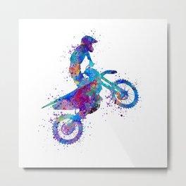 Boy Motocross Art Colorful Watercolor Gift Metal Print