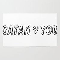satan Area & Throw Rugs featuring SATAN LOVES YOU by Shaltmira