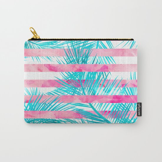Modern pink turquoise tropical palm tree watercolor stripes pattern Carry-All Pouch