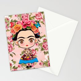 Frida cartoon roses Stationery Cards