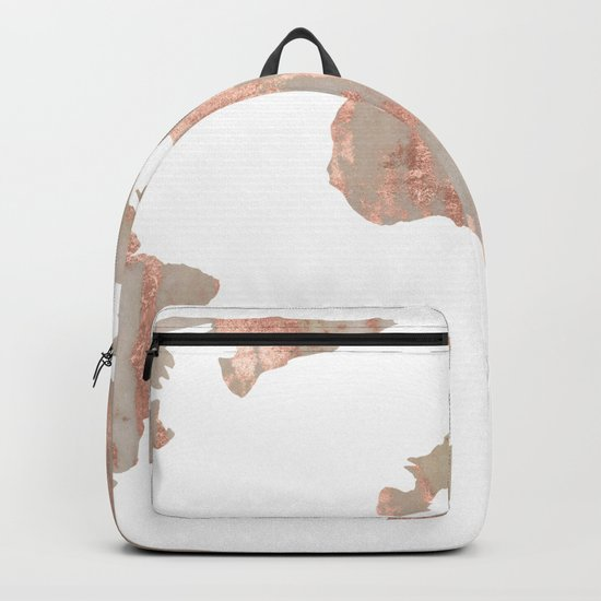 World Map Marble Rose Gold Shimmer Backpack