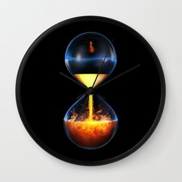 Old flame / 3D render of hourglass flowing liquid fire Wall Clock