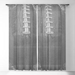 Big American Football - black &white Sheer Curtain