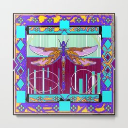 Western Dragonfly Purple-Turquoise Art abstract Metal Print
