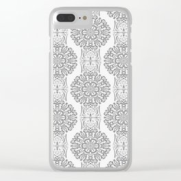 Gray white Damask ornament . Clear iPhone Case