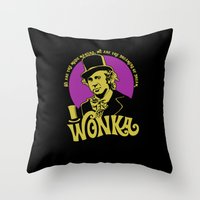 willy wonka Throw Pillows featuring Willy W quote v2 by Buby87