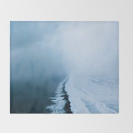 Infinite and minimal black sand beach in Iceland - Landscape Photography Throw Blanket
