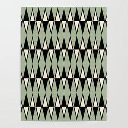 Mid Century Modern Diamond Pattern Sage Green 234 Poster
