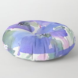 Blue Poppies and Wildflowers Floor Pillow
