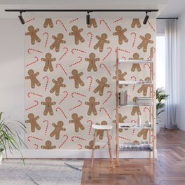 Gingerbread Man + Candy Cane Christmas Pattern Wall Mural