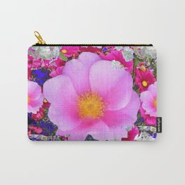 MODERN ART FUCHSIA ROSES  WHITE FLORAL GARDEN Carry-All Pouch
