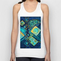 sparkles Tank Tops featuring GALAXY SPARKLES BLUE by Deyana Deco