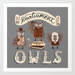 A Parliament of Owls Art Print