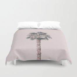 Tropical Palm Tree In Pastel Pink Light Duvet Cover