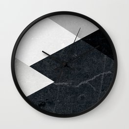 Geometrics - marble & silver Wall Clock