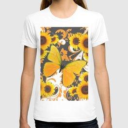 GOLDEN BUTTERFLY & SUNFLOWERS ARABESQUES T-shirt