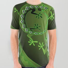 Vintage Green Gecko All Over Graphic Tee