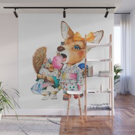 A child deer and squirrel at the summer festival Wall Mural