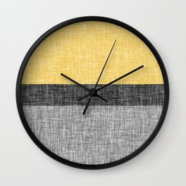 Yellow Grey and Black Section Stripe and Graphic Burlap Print Wall Clock