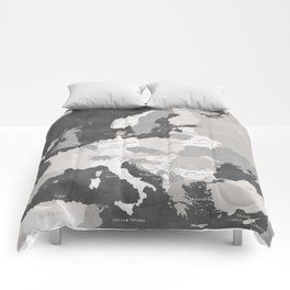 Distressed map of Europe in gray - PRINTS IN SIZES L and XL ONLY Comforters