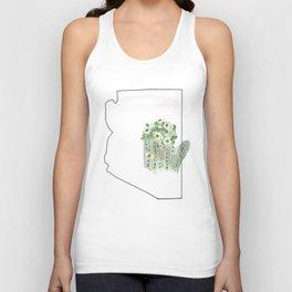arizona // watercolor saguaro flower state flower map Unisex Tank Top