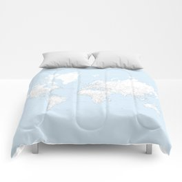 World map, highly detailed in light blue and white, square Comforters