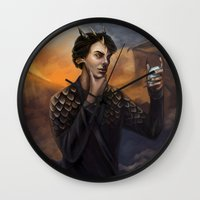 smaug Wall Clocks featuring Smaug by Juli Grey