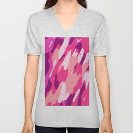 pink purple and soft pink camouflage graffiti painting abstract background Unisex V-Neck