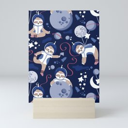 Best Space To Be // navy blue background indigo moons and cute astronauts sloths Mini Art Print