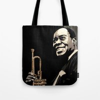 louis armstrong Tote Bags featuring Louis Armstrong by f_e_l_i_x_x