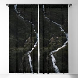 Dark forest with waterfall on the side of a mountain in Norway - Landscape Photography Blackout Curtain