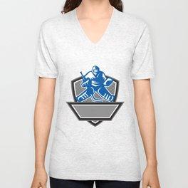 Ice Hockey Goalie Crest Retro Unisex V-Neck