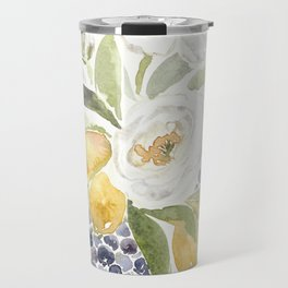 Watercolor Flowers with Blueberries Travel Mug
