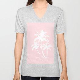 Millennial Pink White Tropical Palm Hawaii Illustration Unisex V-Neck