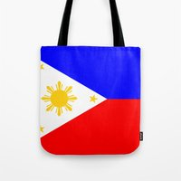 philippines Tote Bags featuring Philippines country flag by tony tudor