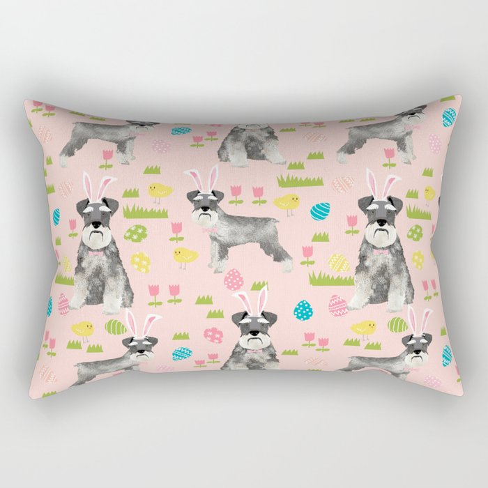 Schnauzer easter costume spring easter bunny pure breed dog pattern gifts Rectangular Pillow