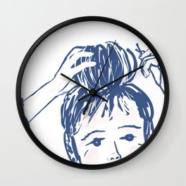 Messy bun day Wall Clock