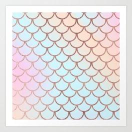 Blush tones rose gold watercolor gradient scallope Art Print